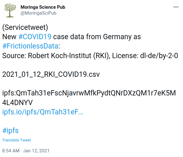 tweet mit RKI Covid data package